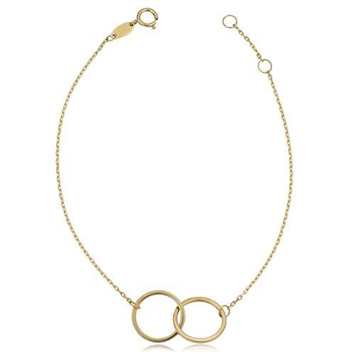 Kooljewelry 14k Yellow Gold Interlocking Circles Adjustable Bracelet (adjusts to 7 or 7.5 inch)