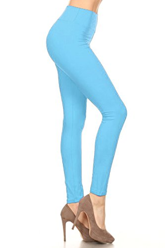 Leggings Mania Women's Solid Colored Leggings with Wide Yoga Waistband Lt Blue -