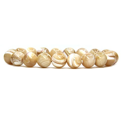 Amandastone Natural Khaki Mother of Pearl Genuine Semi-Precious Gemstones Healing 10mm Beaded Stretch Bracelet 7