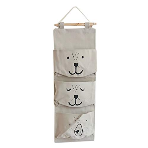 HIKO23 Over The Door Closet Organizer, Wall Door Hanging Storage Bags with 3 Pockets for Bedroom & Bathroom