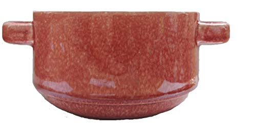 Soup Bowls Stoneware Stackable With handle 25 Ounce Pack OF 2 (Red Rose)