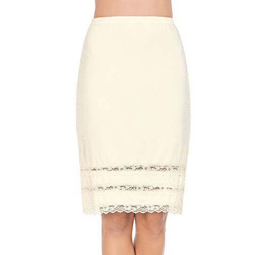 - Half Slips for Women Underskirt Dress Extender Lace Trim Knee Length Midi Skirt Beige Large