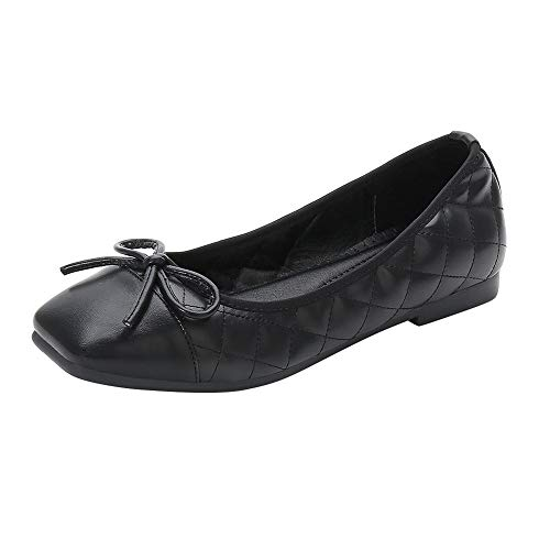 Meeshine Womens Square Toe Bowknot Ballet Comfort Slip on Flats Shoes Black-06 US 8.5