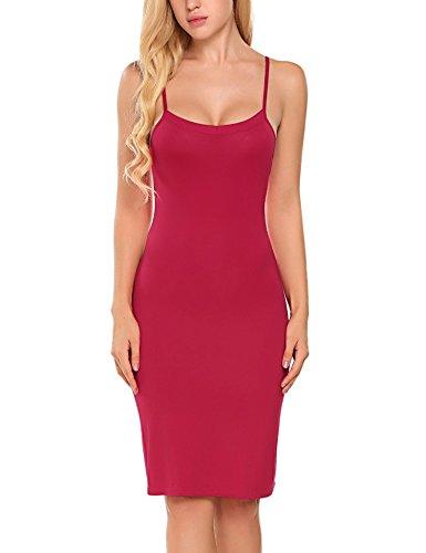 (Women Full Slips Dress, Cotton Blend Spaghetti Straps Long Cami Slip Nightwear (Knee-Length-2655-Dark Red, XX-Large))