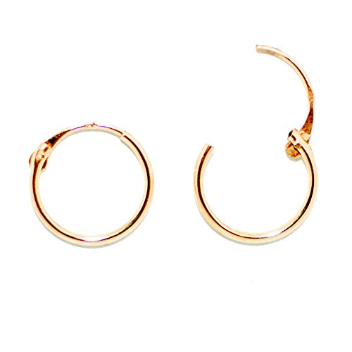 14K Yellow Gold EasyOn Hinged Continuous Endless Hoop Earrings (10mm) (1mm (14k Yellow Gold Hinge)