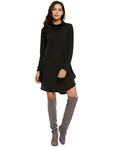 Flare Turtleneck (Misakia Women's Casual Slim Fit and Flare Turtleneck A line Dress (Black S))