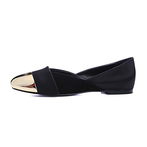 Allhqfashion Femmes Talons Bas Matériau Souple Solides Pull-on Chaussures À Bout Fermé Fermé-chaussures Noir