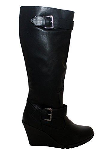 A&H Footwear - Botas mujer negro PU ...