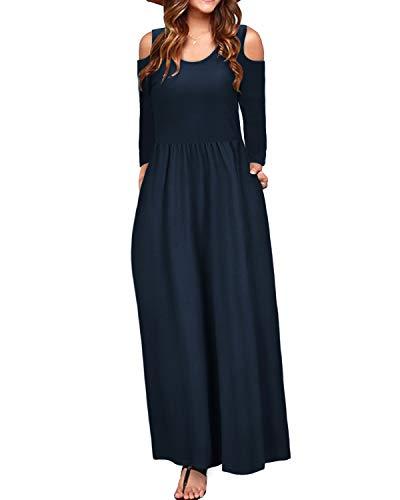 STYLEWORD Women's Cold Shoulder Elegant Maxi Long Dress with Pocket(Navy-506,M)