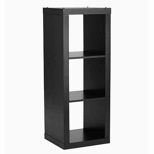 (Shelly Shelves Wood Storage Organizer - 3 Cube Storage Organizer - Solid Black)