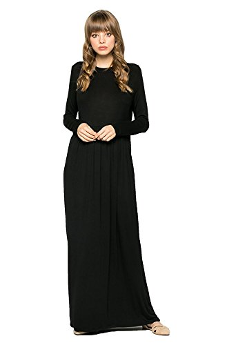 New Runway Styles Women's Long Sleeve Soft Knit Jersey Casual Loose Maxi Dress w/Pocket (Large, Black)