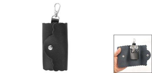 Schwarz Kunstleder Lychee Muster-Schlüssel Schlüsselanhänger Tasche Inhaber
