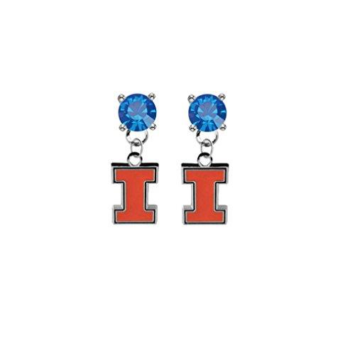 Illinois Fighting Illini Blue Crystal Stud Post Dangle Earrings