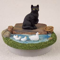Conversation Concepts Miniature Black Shorthaired Tabby Candle Topper Tiny One ''A Day on the Lake'' (Set of 6)