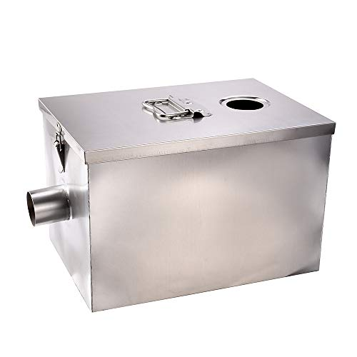 Wifond Commercial 201 Stainless Steel Oil Fats Grease Trap 8lb 5 Gallons Per Minute Interceptor for Kitchen Restaurant - Upper Entrance
