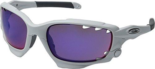 Oakley Men's Racing Jacket OO9171-32 Rectangular Sunglasses, Polished White, 62