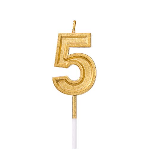 (LUTER Gold Glitter Happy Birthday Cake Candles Number Candles Number 5 Birthday Candle Cake Topper Decoration for Party Kids Adults)
