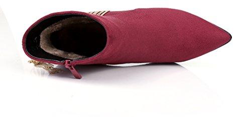 Tacco Arraysa Abaaq Donna Calzature Wine Stivali Cerniera Rosso 8cm A Blocco qaCRZa