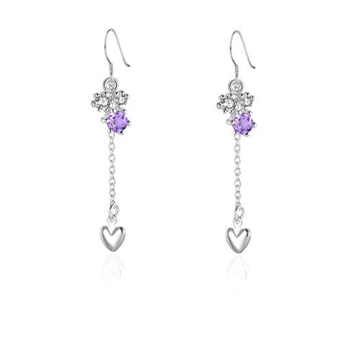 [Gnzoe Jewelry, 18K Silver Plated Drop Earrings Fishhook Dangle Heart Violet Crystal Eco Friendly] (Costumes Brisbane Australia)