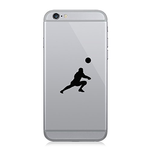 Pair of Womens Volleyball Cell Phone Stickers Mobile Girl Dig Silouette - Black
