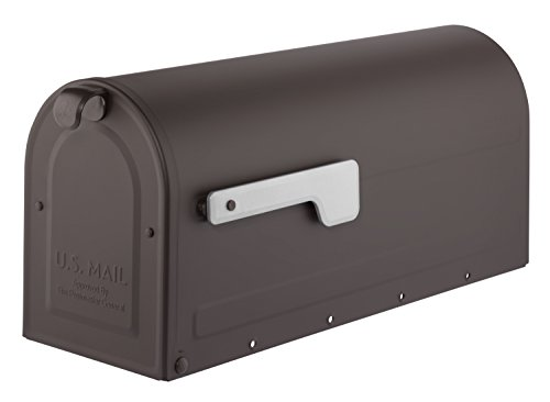Architectural Mailboxes 7600RZ-11 MB1 Post Mount Mailbox with Silver Flag Rubbed Bronze