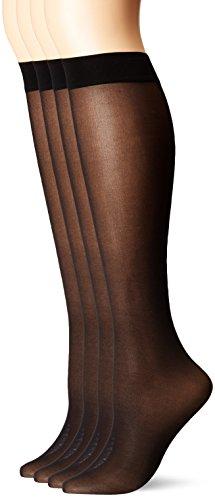 - HUE Women's Opaque Knee Hi Socks, 4 Pair Pack, black, One Size