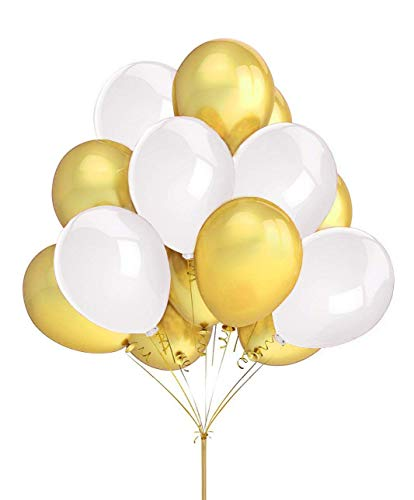 FECEDY 100 pcs Gold White Latex Balloons 12 for Party