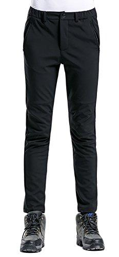 ChezMax Outdoor Women's Winter Waterproof Windproof Thermal Mountain Fleece Soft Shell Ski Pants, Black, M (Woman Ski Pants Slim)