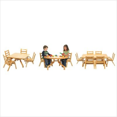 Angeles Furniture Natural Wood Collection 30 x 30 x 12'' Square Toddler Table and Chair Set