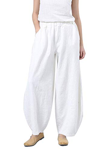 - Soojun Women's Cotton Linen Baggy Pull On Harem Pants with Pockets, White, Large Average