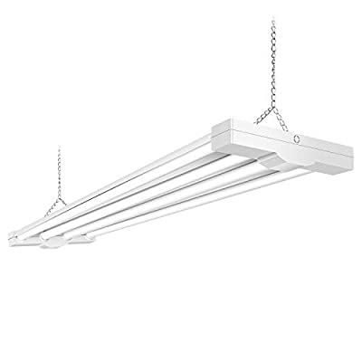 AntLux 80W 4ft LED Utility Linear Low Bay Shop Lights for Garage, 8800 Lumens, 5000K, Surface Mount and Hanging Workshop Ceiling Light Fixture, Fluorescent Tube Replacement, Plug in with ON/OFF Switch