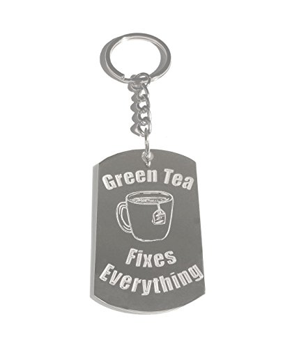(Green Tea Fixes Everything - Metal Ring Key Chain Keychain)