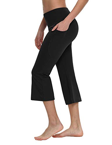 (Baleaf Women's Yoga Capri Pants Flare Workout Bootleg Crop Leggings Black)