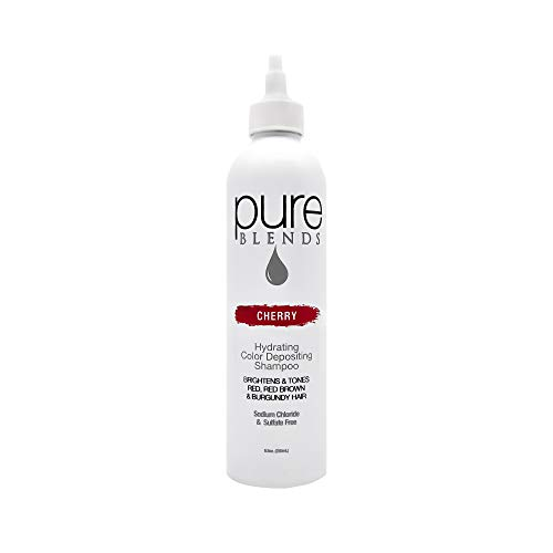 Pure Blends Hydrating Color Depositing Shampoo - Cherry (Red, Red Brown and Burgundy Hair) 8.5 Ounce - Salon ()