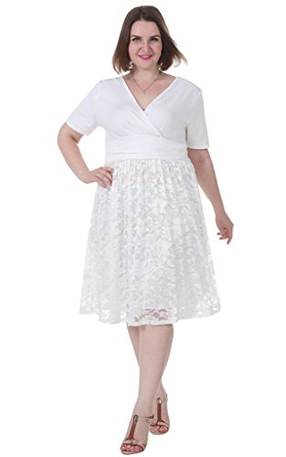 Sapphyra-Womens-Plus-Size-V-Neck-Lace-Dress-Fit-and-Flare-Casual-Dress-Size-S-5X-Plus