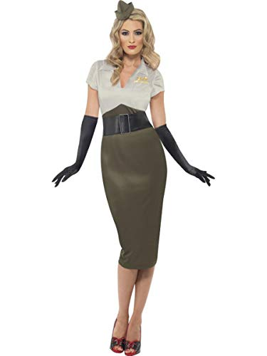 Fest Threads 2 PC Women's Army Military Pin Up Lady Pencil Dress w/Hat Party Costume Green