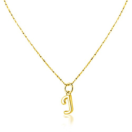 (PearlsNSilver Personalized Dainty Initial J Necklace Charm 14K Gold Over Sterling Silver (J 16