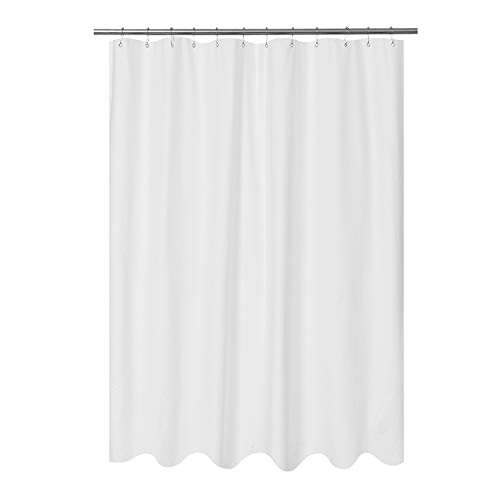 Mrs Awesome Embossed Microfiber Fabric Longer Shower Curtain Liner 75 inch Long, Washable and Water Repellent, White (Long 75 In Curtain Shower)