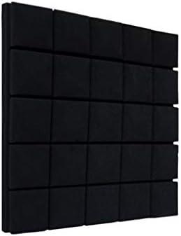 高密度音響パネル、スクエア環境保護ホテルレコーディングスタジオピアノルーム吸音綿10PCS (Color : Black)