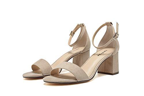 (EYUSHIJIA Women's Chunk Low Heel Pump Sandals (6.5 M US, Brown))