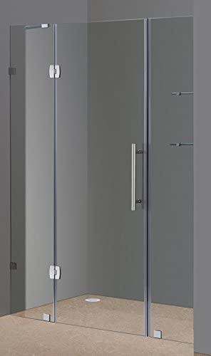 Aston Soleil 60 X 75 Completely Frameless Hinged Shower Door With Glass Shelves Polished Chrome
