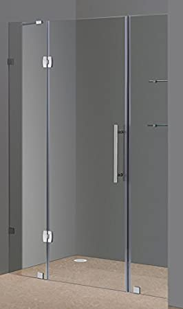 Aston Soleil 60 X 75 Completely Frameless Hinged Shower Door With Glass Shelves Polished Chrome Amazon Com