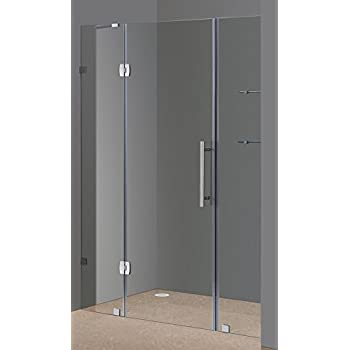 aston sdr983ch606 60inch x 75inch completely frameless hinge shower door with glass shelves chrome finish