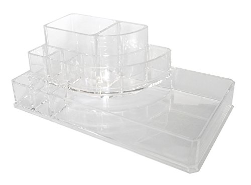 Sodynee-Acrylic-Makeup-organizer-Cosmetic-organizer-Jewelry-and-Cosmetic-Storage-Display-Boxes-Two-Pieces-Set3-Drawer-makeup-storage-Lipstick-Liner-Brush-Holder