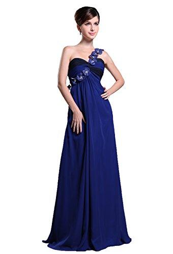 Snowskite Women's One Shoulder Handmade Flower Chiffon Bridesmaid Party Dress Royal Blue 24