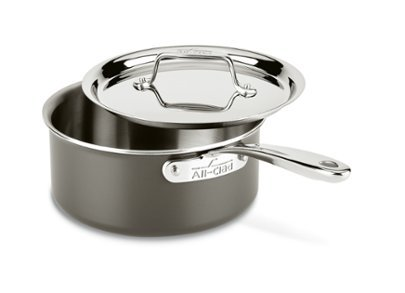 All-Clad LTD3203 Tr-ply Stainless Steel Hard Anodized Exterior Sauce Pan Cookware, 3-Quart, Black by All-Clad