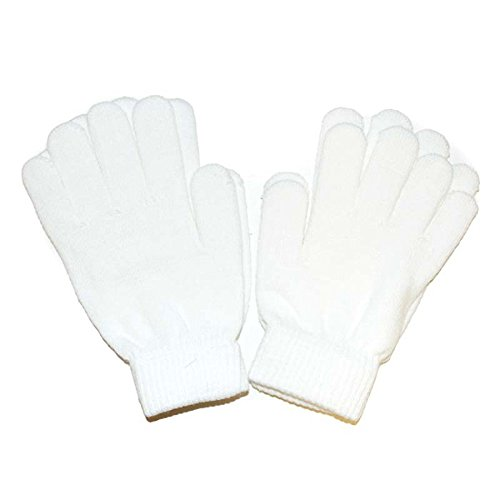 White Gloves - Regular Size Magic Stretch Spandex Acrylic Polyester Cotton Premium Winter Knit Gloves (2 Pack) - Spandex Winter Gloves