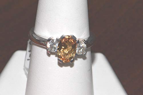 14k White Gold Imperial Topaz and Diamond Ring