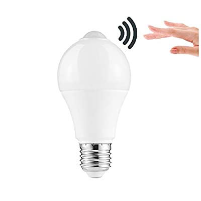 LEDGLE 12W Smart Motion Sensor Lights E26 / E27 Lamp Bulbs Efficient LED Bulb with Infrared Sensor, cool White 6000K, SMD 2835 LED Beads, 1000lm, Excellent Heat Dissipation Effect, Wide Lighting Angle