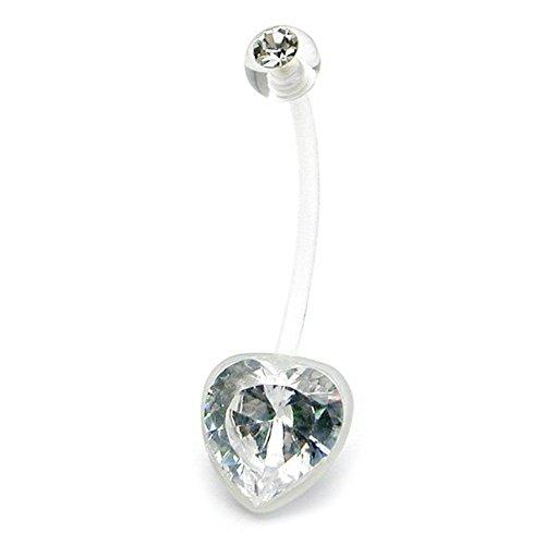 Corps transparente coeur gemme crystal Barre de nombril
